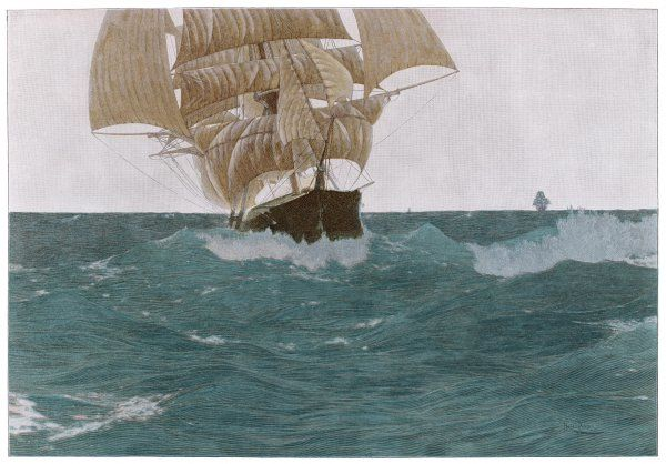'Before the wind' - a ship sets her out-riggers to take advantage of a favorable wind