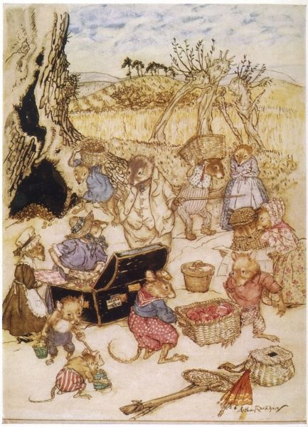 The field mice & harvest mice join Ratty & Mole at their picnic. Date: First published: 1908