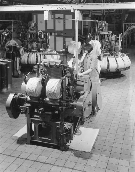 Machines for Winding thread at Patons & Baldwins Factory in Darlington; one of the UK's leading manufacturers of knitting yarn. Photograph by Heinz Zinram