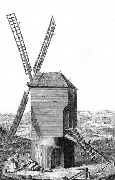 A windmill in 18th century France. A couple and their dog are having a rest before heading home with their flour bags. Date: Circa 1760