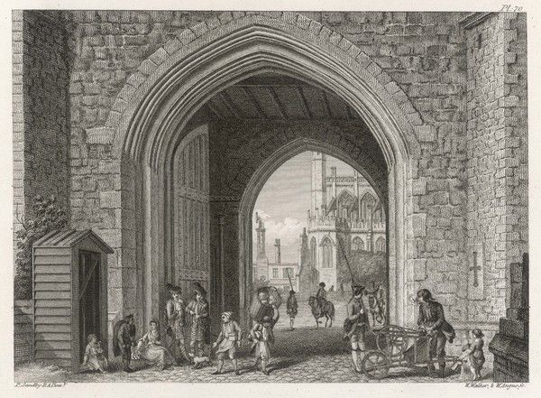 A view of St George's Chapel and the town gate of Windsor Castle, with soldiers, a knife-grinder, a sweep and street traders outside the castle wall