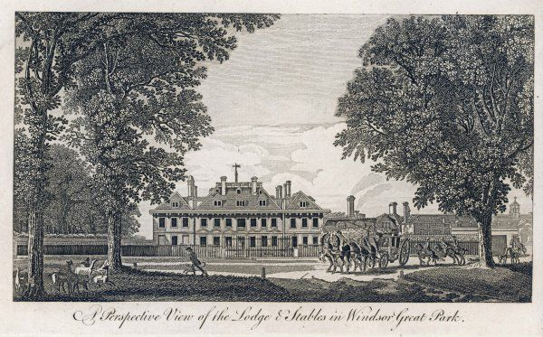 'A Perspective View of the Lodge and Stables in Windsor Great Park.&#39