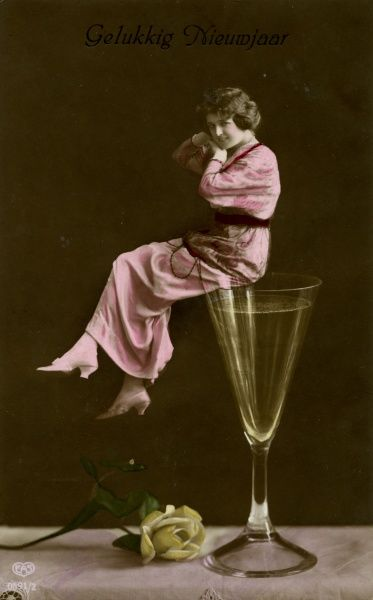 Wine, woman and rosebud. Date: circa 1908