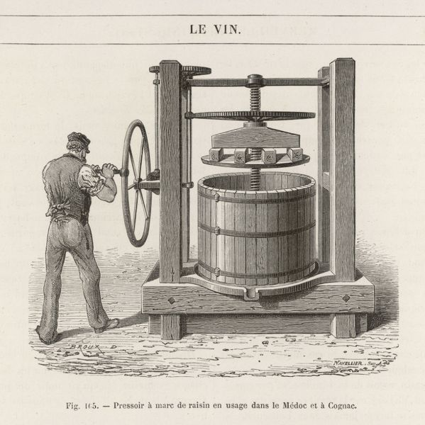 Type of grape press in use in Cognac and environs, France for extracting the juice. Here a man must turn a wheel by hand which via a system of cogs brings the press down