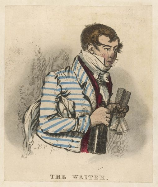 A waiter hurries purposely to a table bearing a bottle of wine and a set of flute glasses. From his rosy cheeks, he may have tested the vintage first