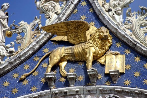 Winged Lion on the Basilica Di San Marco, Venice, Italy circa 2008