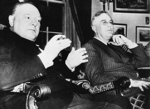 Winston Churchill, British Prime Minister and Franklin D. Roosevelt, US President, at a press conference at the White House following their historic meeting to discuss the Allied war effort and strategy in December 1941/January 1942