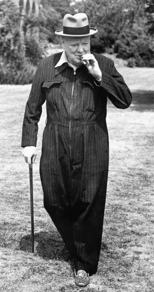 Winston Churchill in his Siren Suit at Chartwell, Kent