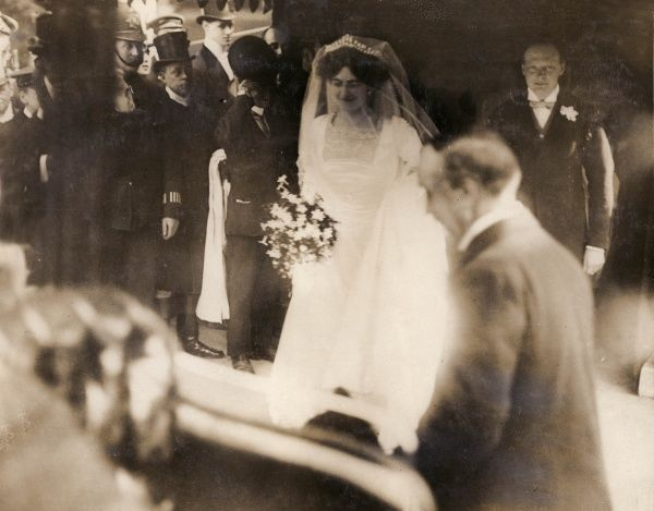 Winston Churchill and his bride, Clementine Hozier, emerge from St. Margaret's Church, Westminster after their wedding