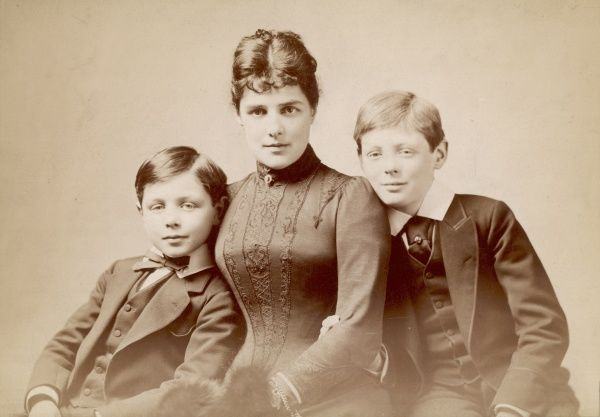 WINSTON CHURCHILL pictured with his mother, Lady Randolph Churchill and his younger brother, John Strange Churchill