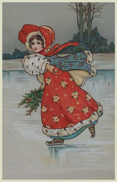 A small girl dressed in a fetching red Regency style dress and bonnet skates skilfully across a frozen pond managing to hold both a fur muff and a bunch of holly simultaneously