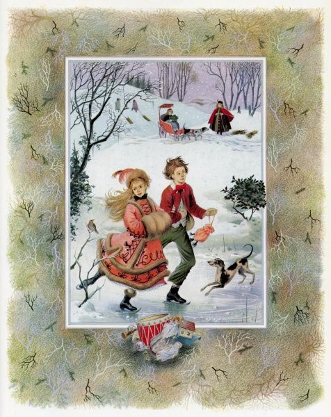 A boy and girl in the Victorian era pictured skating on a frozen pond. In the background is a fine slope for sledging and a dog cart, a popular form of conveyance, draws a girl past a woman pulling faggots