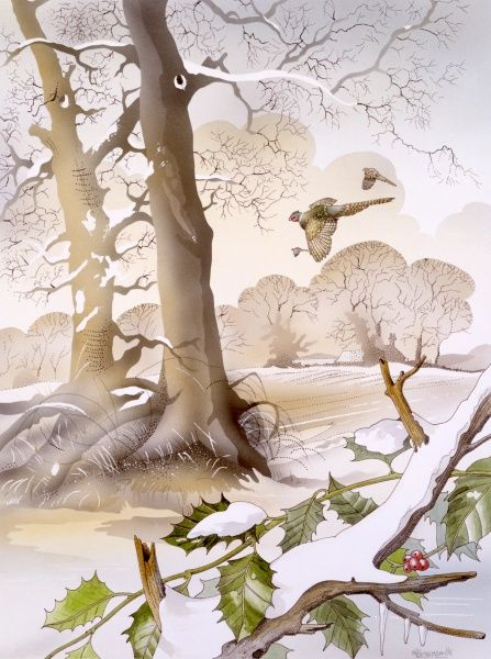 A winter scene in the countryside, with holly in the foreground, and two birds flying across a snow-covered landscape