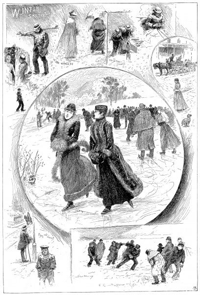 Series of sketches of winter scenes in Britain, c.1897. The centre image shows two women skating on a pond. The surrounding images show various street scenes, with a group of men and boys having a snowball fight (bottom right)