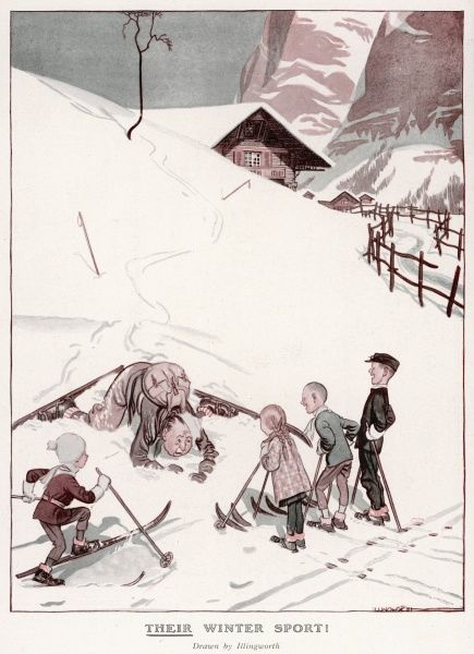 Four local and proficient child skiiers have a laugh at the expense of a man (probably British) who seems to have come a cropper on the piste