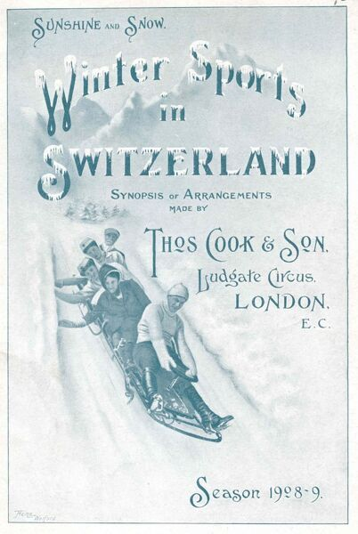 Cover illustration for Sunshine and Snow. Winter Sports in Switzerland, synopsis of arrangements made by Thomas Cook and Son, Ludgate Circus, London. Five people on a toboggan race downhill, with snow capped mountains in the distance