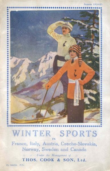 Cover illustration for Winter Sports in France, Italy, Austria, Czechoslovakia, Norway, Sweden and Canada, under the management of Thomas Cook & Son Ltd. A couple in skiing gear stand on a snowy mountain looking out at the view