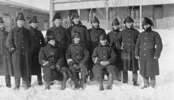 Men of the Royal Inniskilling Fusiliers, serving in China, wear winter uniforms in Tientsin (now Tianjin).  C.1911