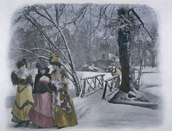 Three ladies take a walk in the snow