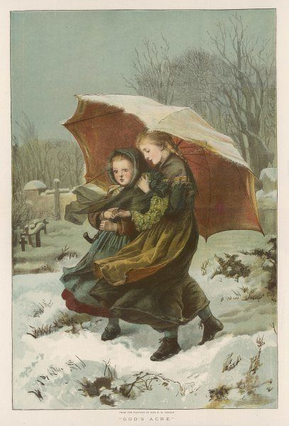 Two girls walk through a snowy landscape under a large umbrella