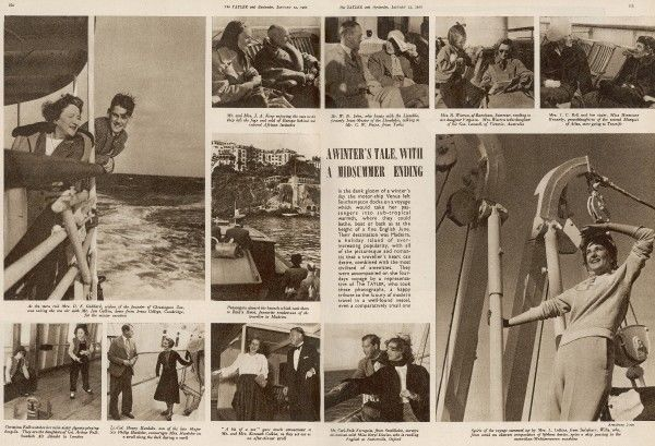 "A spread from The Tatler featuring photographs by Anthony Armstrong Jones and recorded the numerous passengers on board the ""Venus"" which was heading to Madeira in January 1952. Included on the boat were Mrs R. Warren with her daughter Virginia"