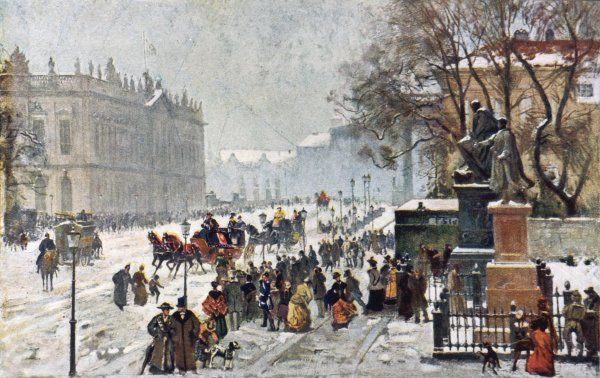 A wintery scene of Berlin at the turn of the twentieth century on New Year's Day. The painting was shown at the Berlin Art Exhibition in 1916