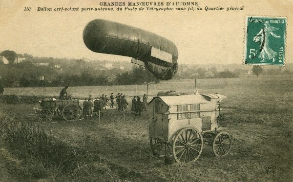 A balloon carrying a telegraph antenna for a very early wirelss ('sans fils') transmitter, France