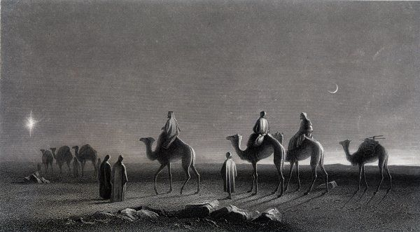 Jesus' Birth The Wise Men following the Star across the desert to Bethlehem