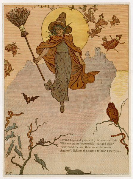 A traditional witch flies through the air with - but not on - her broomstick