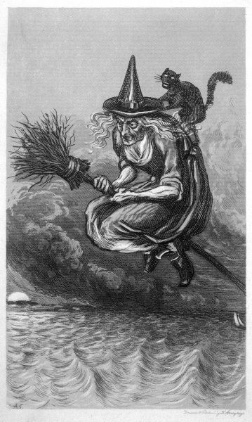 A witch flies to the sabbat with her cat on her broomstick