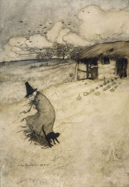 A witch with her cat outside her cottage