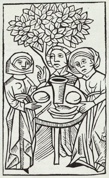 Three witches eating at the Sabbat
