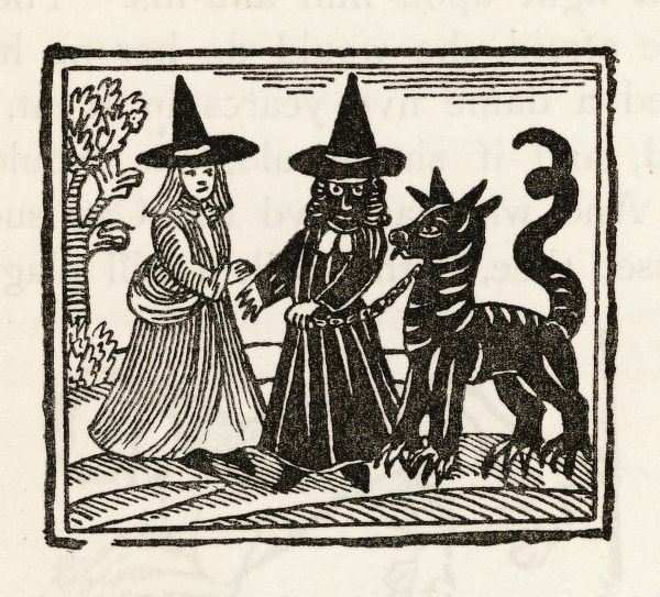 Two witches and a familiar - the traditional 'Black Dog&#39
