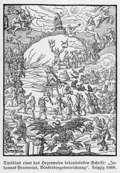 The title page of the witchcraft book of Johannes Praetorius, entitled 'Blocksbergesverichtung' showing witches engaged in their sabbat practices
