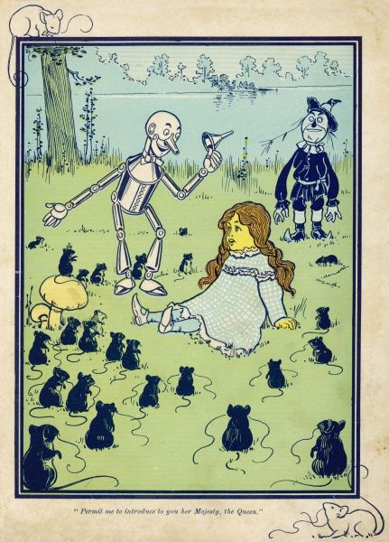 The Tin Woodman introduces Dorothy to the Queen of the Field Mice
