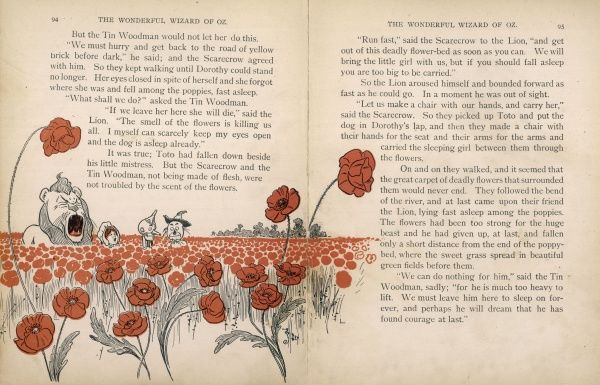 Dorothy and the Cowardly Lion start to yawn and fall asleep amongst the poppies while the Scarecrow and Tin Woodman wonder what to do