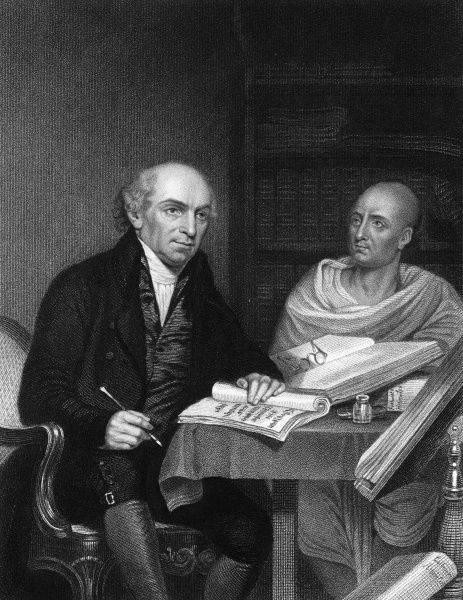 WILLIAM CAREY - English Orientalist and Missionary with his 'Pundit' (servant) at the College of Fort William, Calcutta. Date: 1761 - 1834