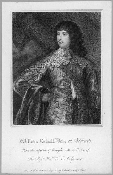 WILLIAM RUSSELL, 5th earl and first duke of BEDFORD depicted by Van Dyck in his finery, but before he grew the moustache which gave the finishing touch !