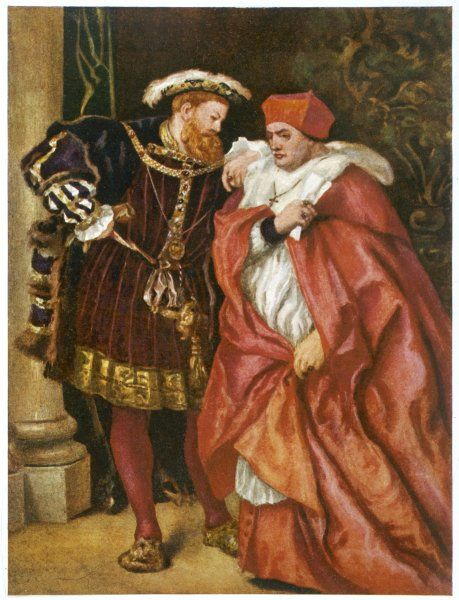 THOMAS, CARDINAL WOLSEY with King Henry VIII - British Royalty