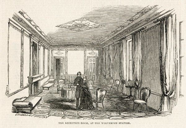 The reception room at Wolverton train Station, redecorated in honour of Queen Victoria and Prince Albert's visit to the Duke of Buckingham in 1845