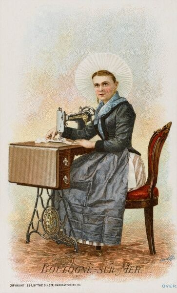 A Woman from Boulogne, France using a Singer Sewing Machine