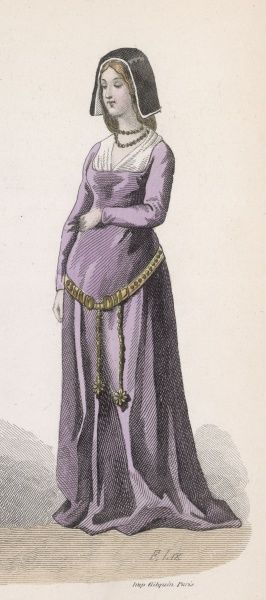 A noblewoman of the period of Louis XI wears a simple dress with a high waist and a low- slung metal belt