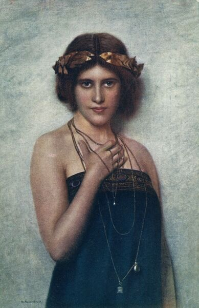 Painting of a classical woman by German artist Max Nonnebruch. She wears a golden laurel wreath