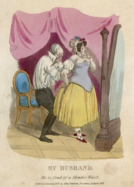 "A skinny husband helps his plump wife with her corset: ""He is fond of a slender waist!&quot"