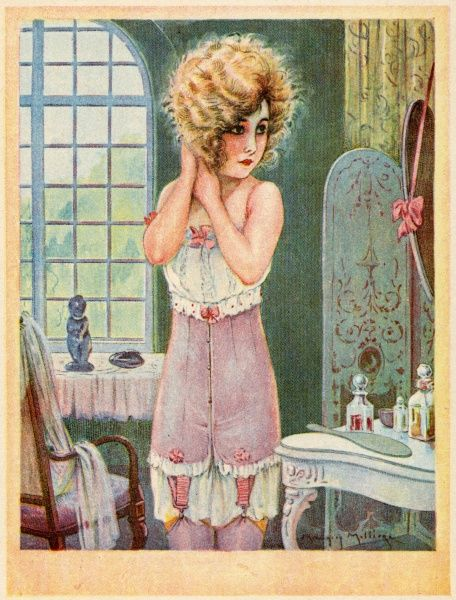 A young woman stands before her dressing table as she attends to her toilet - she has only got as far as putting on her undergarments
