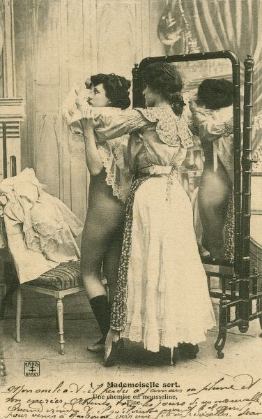 'The Muslin Shirt'. A French woman and her dresser maid - she is getting into a fine muslin dress