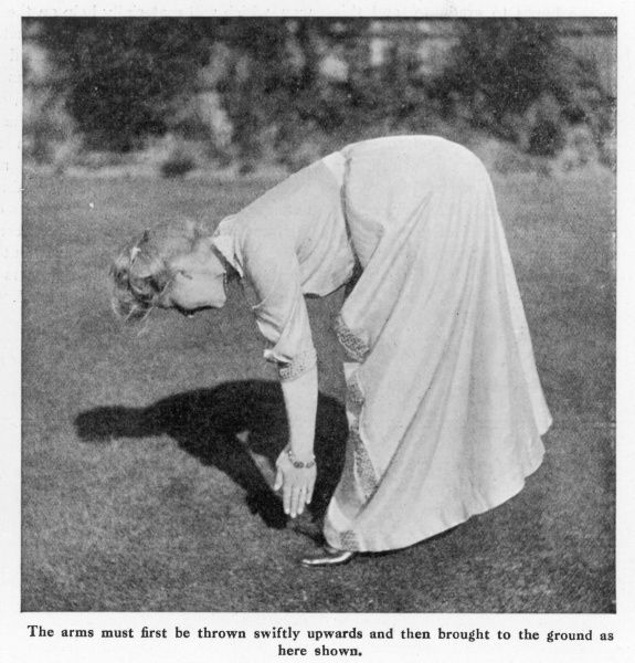 "A woman exercising and touching her toes in a chapter called ""How To Preserve a Youthful Figure&quot"