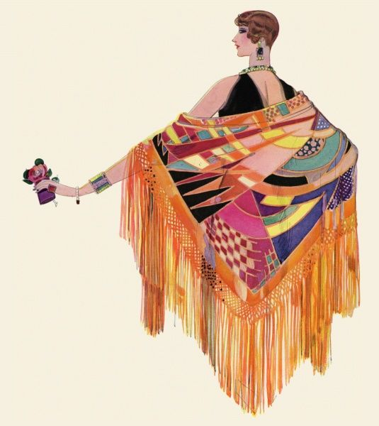 Back view of an elegant woman wearing a dazzlingly colourful exotic shawl with long fringing