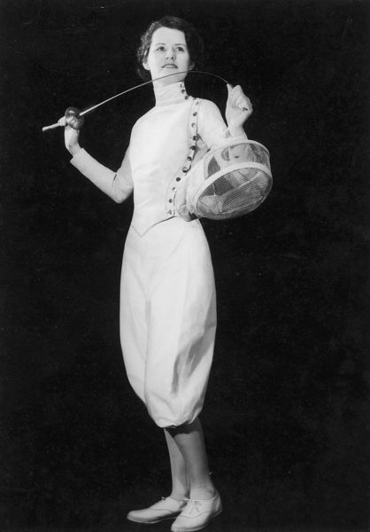 Eleanor Macdonald, the only woman to whom the degree of Maitre d'Armes de l'Academie d'Epee de Paris has been awarded, shows us how attractive breeches can be