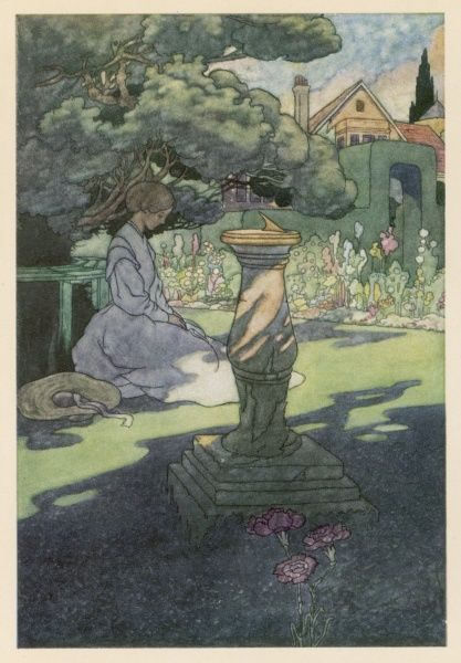 A woman sits pensively in a garden with a sundial